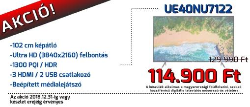Aktuális akciós ajánlatunkból: Samsung UE43NU7122K 109cm NU7122 4K Sík Smart UHD TV